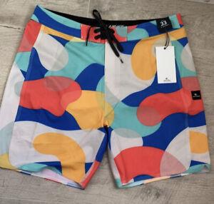 rip curl Mirage Mr.Psychedelic Swim Turk Soft mid length stretch board shorts 33