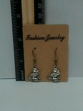 Handmade Silver Plated Mouse w/Heart Charm Dangle Earrings - Free Shipping