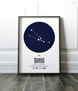 Zodiac Star Signs Print / Picture Taurus / Modern / Minimalist Wall Art