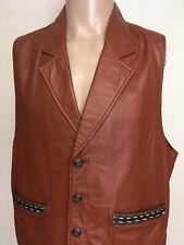Vtg Pioneer Wear Western Leather Vest Reddish Brown Striped Trim Buttoned Soft L