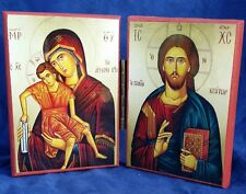 EASTERN ORTHODOX CHRISTIAN DIPTYCH ICON OF CHRIST & THEOTOKOS
