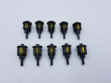 LEGO LOT 10 X LANTERNE  NOIR REF 2566 AVEC ROUND BRICK 1X1 JAUNE TR 30068 *NEUF*