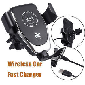 Wireless Car Charger Black Mount Holder 10W For iPhone X Samsung Galalxy S8 S9