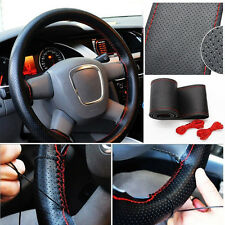 Car Truck Leather Steering Wheel Cover With Needles and Red Thread Black DIY