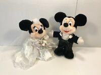 "Disney Mickey Minnie Mouse Bride & Groom Plush Wedding Set 11"" Stuffed Dolls"