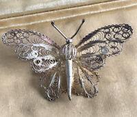 Vintage Silver Filigree Butterfly Brooch