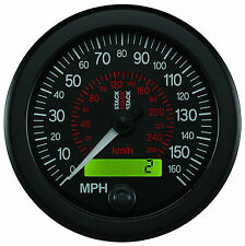 Stack ST3801 Electronic Speedometer 0-160 MPH / 0-255 KMH Black Face 80mm