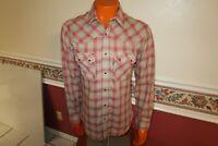 Vintage LEVI'S Men's Plaid Button Pocket red Pearl Snap Shirt large EUC RARE