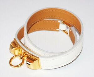 Hermes Cuir Rivale Double Tour Calfskin White Bracelet by Hermes in Box (Ost)