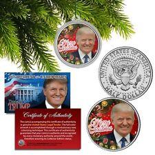 DONALD TRUMP XMAS JFK Half Dollar U.S. Coin with Christmas Tree Ornament Capsule