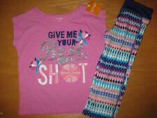 NWT Gymboree Gymgo 5-6 Set Purple Best Shot Shirt Geometric Cropped Leggings