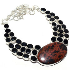 "Mahogany Obsidian, Black Onyx Ethnic .925 Silver Jewelry Necklace 18"" MM-1700"