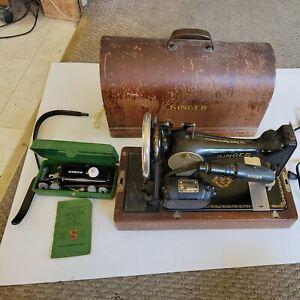 Vintage Singer Sewing Machine Model 128-13, 1939, w/ Extras knee control