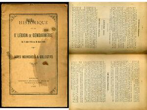 HISTORIQUE de la  8 em LEGION de  GENDARMERIE  du 2 aout 1914 au 30 avril 1919