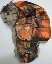 Orange Camouflage Aviator Hat Hunter Orange Camo Trapper Hat w/ Faux Fur