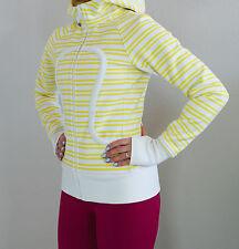 EUC* Lululemon Size 4 Scuba Hoodie Clarity Yellow Twin Stripe White