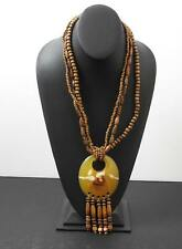 "Vintage Wood And Plastic Or Bakelite Necklace Statement Type 16"" Drop W29"