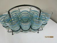 Vintage MCM  Retro Set of 8 Colored Striped  Drinking Glasses with Caddy