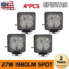 2X 4inch 27W Square LED Work Light Bar Spot Beam Driving Lamp Offroad Truck Jeep
