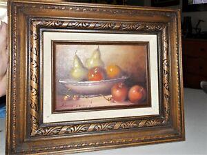 Vtg Original Oil Frank Lean Fruit Pear Apple Still Life Wood Framed Painting Art