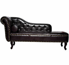 Vintage Style PU Leather Chaise Lounge-Dark Brown Matching Bolster cushion