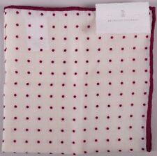 Brunello Cucinelli Pocket Square Cream Red Polka Dot BNWT RRP £150