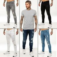 Enzo Mens Skinny Ripped Jeans Super Stretch Distressed Denim Pants All Waists