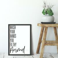 Bathroom Prints Wall Art Funny Poster Pictures Toilet Home Quotes A5 Wash Hands