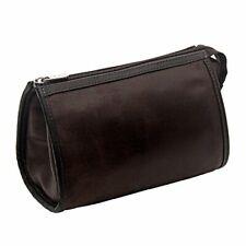 Corsa Miglia Leather Vintage Tear-Drop Cosmetic Bag, Brown, by Piel