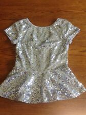 SILVER SQUENCE PUPLUM TOM SIZE SMALL