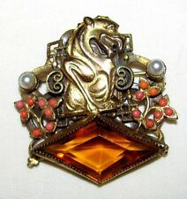 SIGNED CORO CZECH GLASS FAUX PEARL CORAL Joseff of Hollywood DRAGON GARGOYLE PIN