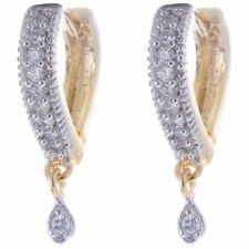 Indian Bollywood CZ Stone Heart Shape TwoTone Gold Plated Hoop Sparkle Earrings