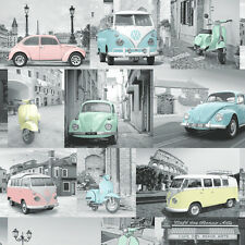 Volkswagen VW Camper Van Beetle Car Scooter Pastel Collage Feature Wallpaper