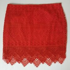 Banana Republic Womens Skirt Sz 14 Orange Red Lace Pencil Skirt Retail $118 NWT