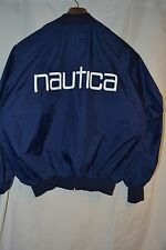 Men's  Navy Blue Nautica Light Weight Full Zip Nylon Sailing Jacket L Spell Out