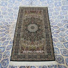 YILONG 2'x4' Handknotted Wool Silk Carpet High Density Hallway Rug Runner 063S