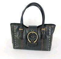 Jane Shilton Black Leather Medium Handbag 30cm X 20cm
