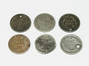 Holed / Damaged Lot ~ 4 Seated Dimes,  2 Love Tokens & 3 Cent Nickel