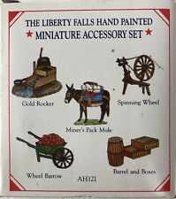 Liberty Falls Hand Painted Miniature Acc. 5 Pewter Figures Miner Pack Mule Ah121