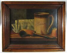 Vintage William Harnett Print His Mug Pipe Trompe-l'oeil Still Life 1880 Framed