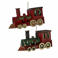 Set/2 Kurt Adler Train Christmas Tree Steam Engine Polar Express Decor Ornaments