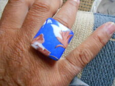 """SAPHIRE BLU & EARLY SPRING BUDS, """"O"""" WITH THE TOP CUT OFF RING, BEAUTIFUL SIZE K"""