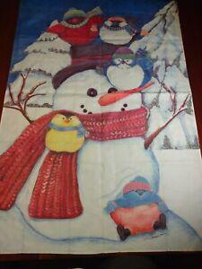 Winter snowman House Yard Flag Christmas tree Banner Seasonal birds snow scarf