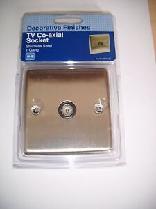 BRITISH GENERAL STAINLESS STEEL 1GANG CO-AXIAL SOCKET SB760
