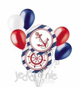 7 pc Anchors Aweigh Nautical Balloon Bouquet Party Decoration Birthday Baby Sea