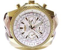 BREITLING FOR BENTLEY Chronograph K25362 Gelb Gold Braun Leder Band Watch