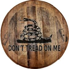 Whiskey Barrel Head Don't Tread on Me Snake Nra Rights Gun Home Décor Bar Sign