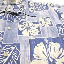 USA  Aloha Camp GO BAREFOOT Mens HAWAIIAN SHIRT M Reverse Print Blues  Flower