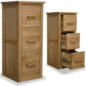 Arden solid oak home office furniture three drawer lockable filing cabinet