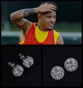 Men's Jadon Sancho Oversized 10mm 18ct White Gold Plate Crystal Diamond Earrings